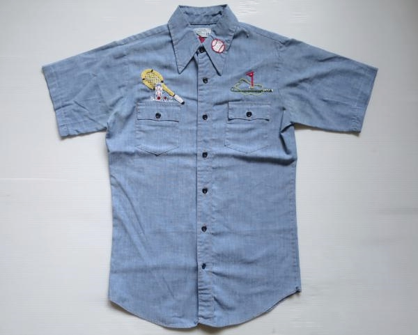 70's JC Penney 刺繍入り 半袖シャンブレーシャツ ボーイズ18 メンズS 青/ビンテージ オールド レトロ アメリカ古着 レディース