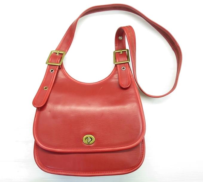 画像1: オールドコーチ レザーショルダーバッグ 赤/ビンテージ 鞄 35