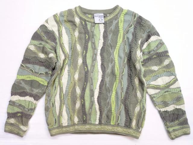 画像1: オーストラリア製 Australian Clothing Co 立体セーター コットンニット M 緑/オールド クージー風 90's