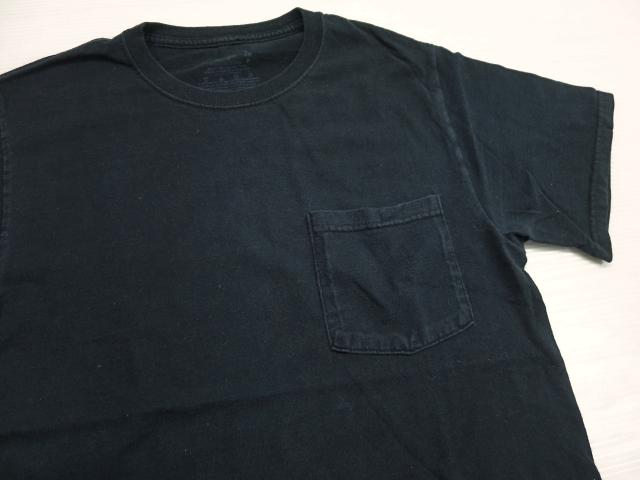 画像1: FRUIT OF THE LOOM ポケット Tシャツ S 黒 ブラック/コットン ポケT 無地 1