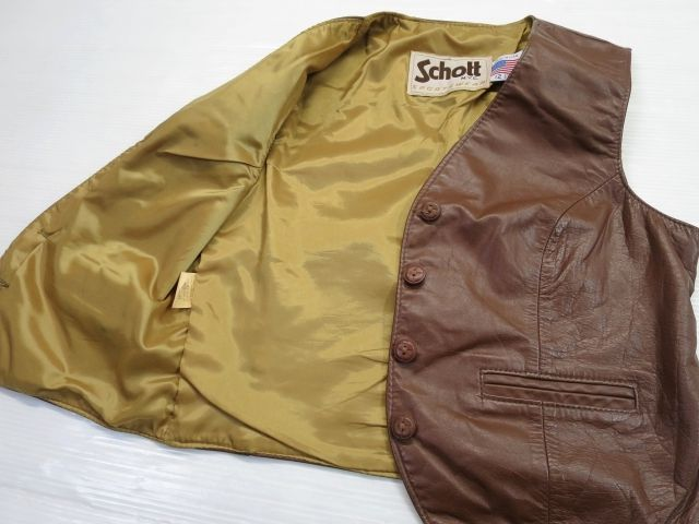 画像4: USA製 Schott ショット レザーベスト 12 XS 茶/ビンテージ 70's 80's レディース