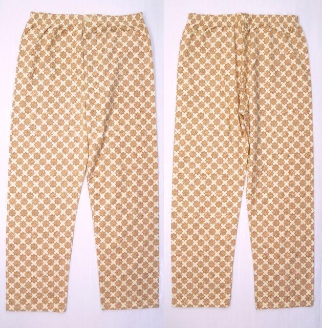 画像1: 70's UNKNOWN パジャマ イージーパンツ 茶色 総柄/ビンテージ オールド ライトネル