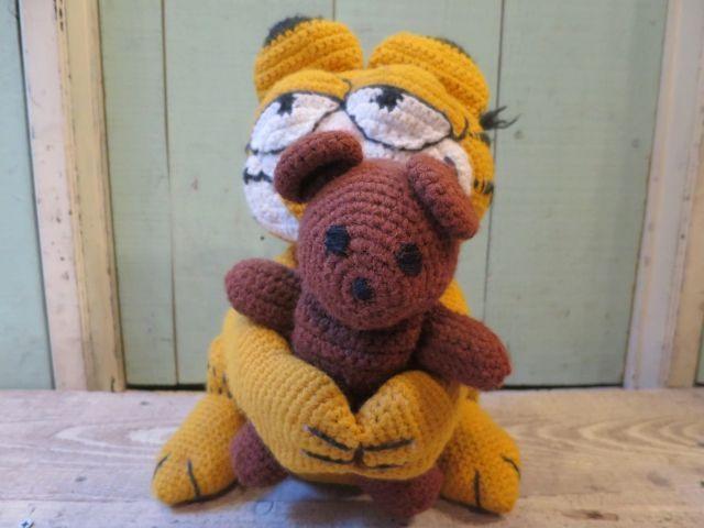 画像1: ハンドメイド ガーフィールド 人形 ぬいぐるみ/ビンテージ アンティーク アメコミ