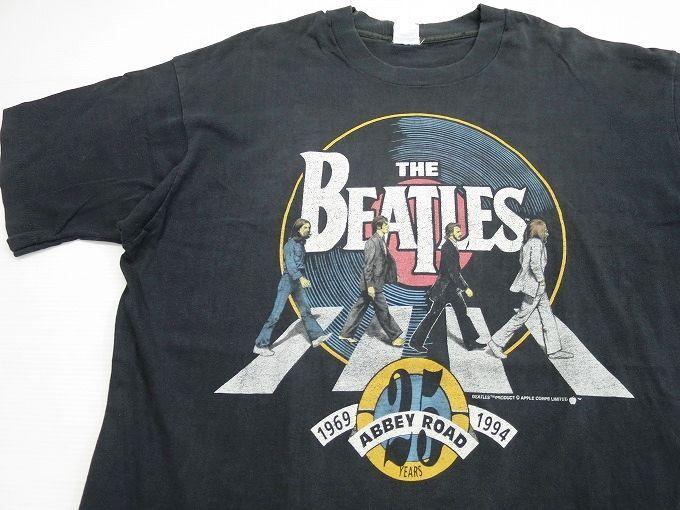 画像1 90\u0027s USA製 ビートルズ バンドTシャツ XL 黒/ビンテージ BEATLES