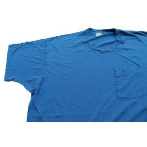 画像: ◆ 90s USA製 フルーツオブザルーム コットン ポケットTシャツ XXXL 青無地 ビッグサイズ/ビンテージ オールド アメリカ古着 ポケT 3XL